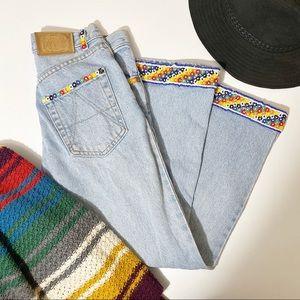 ⭐️ Vintage ABS 70's Floral Beaded Blue Denim Jeans